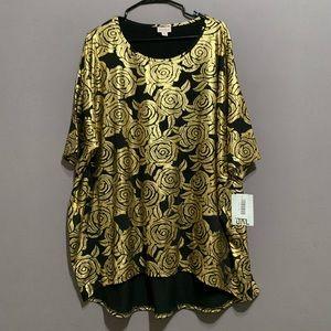 LuLaRoe • NWT Irma Top Black Gold Floral Design